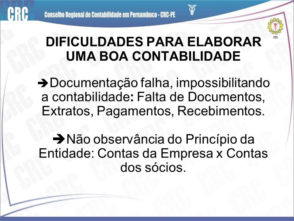 DIFICULDADES PARA ELABORAR UMA BOA CONTABILIDADE Documentação falha, impossibilitando a contabilidade: Falta de Documentos, Extratos, Pagamentos, Rece