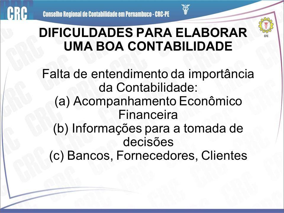 DIFICULDADES PARA ELABORAR UMA BOA CONTABILIDADE Falta de entendimento da importância da Contabilidade: (a) Acompanhamento Econômico Financeira (b) In