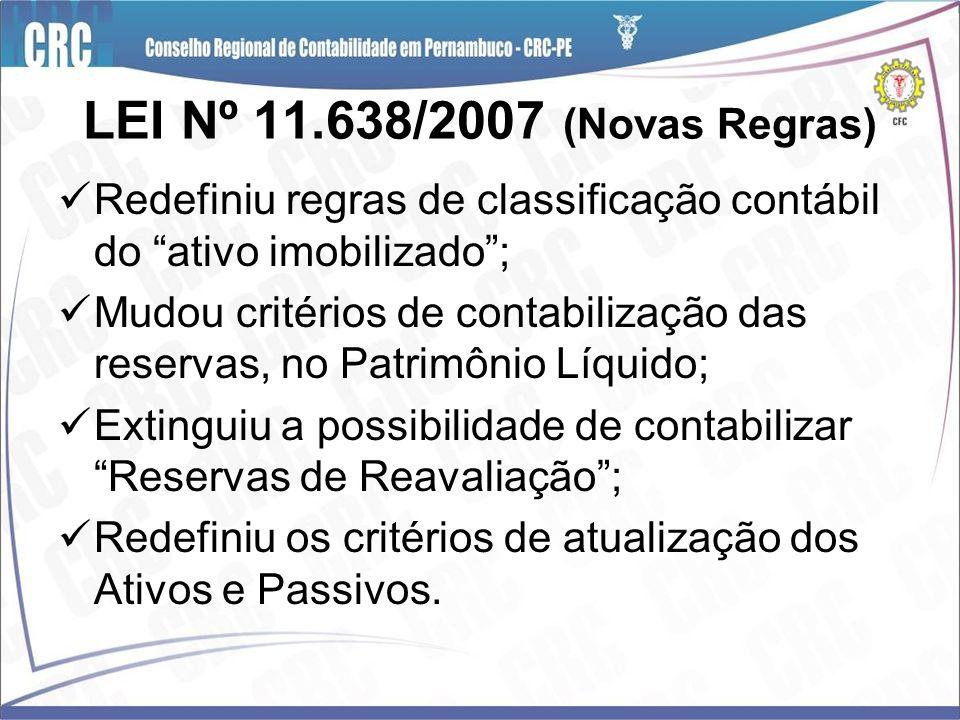 LEI Nº 11.638/2007 (Novas Regras) Redefiniu regras de classificação contábil do ativo imobilizado; Mudou critérios de contabilização das reservas, no