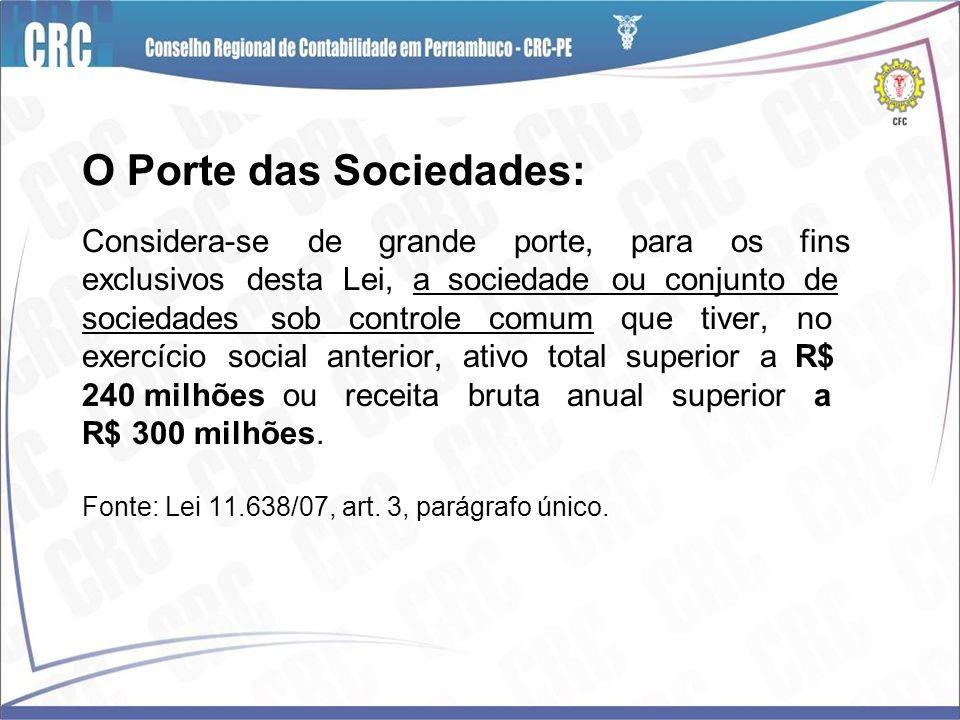O Porte das Sociedades: Considera-se de grande porte, para os fins exclusivos desta Lei, a sociedade ou conjunto de sociedades sob controle comum que