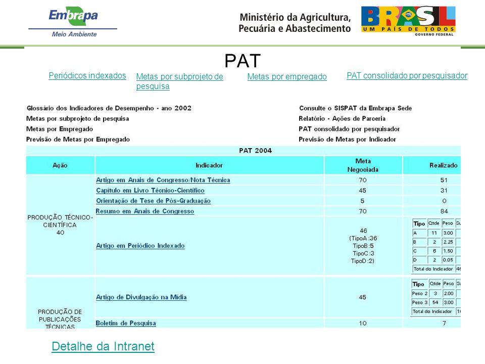 PAT Periódicos indexados Detalhe da Intranet Metas por subprojeto de pesquisa Metas por empregado PAT consolidado por pesquisador