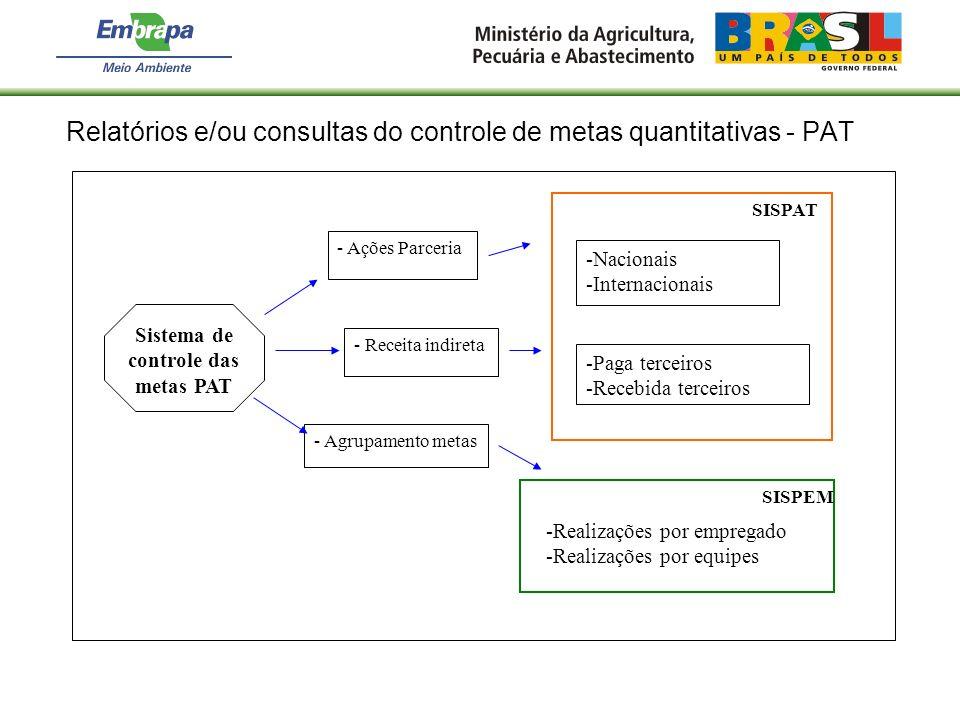 Relatórios e/ou consultas do controle de metas quantitativas - PAT Sistema de controle das metas PAT - Ações Parceria -Nacionais -Internacionais -Real
