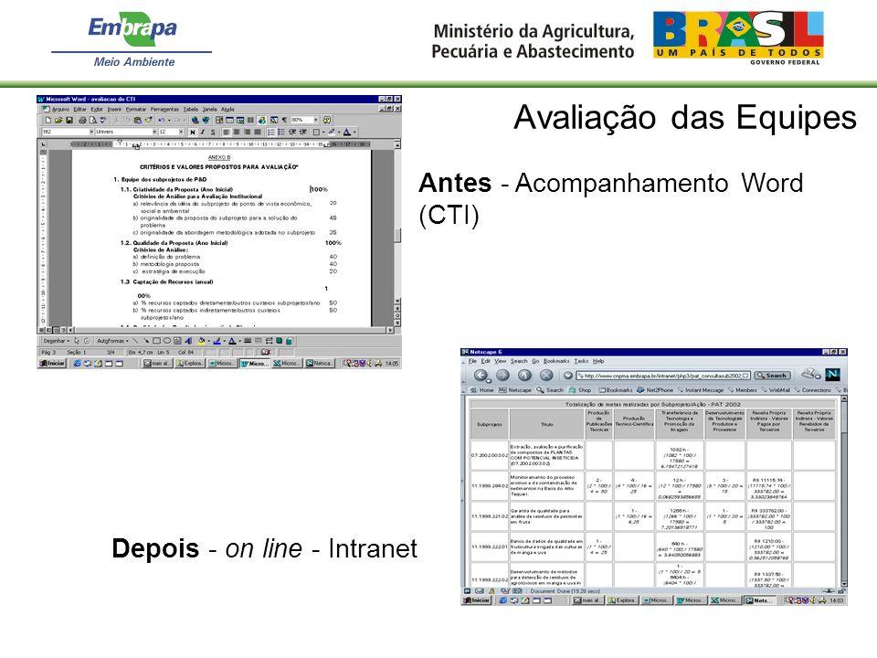 Avaliação das Equipes Antes - Acompanhamento Word (CTI) Depois - on line - Intranet