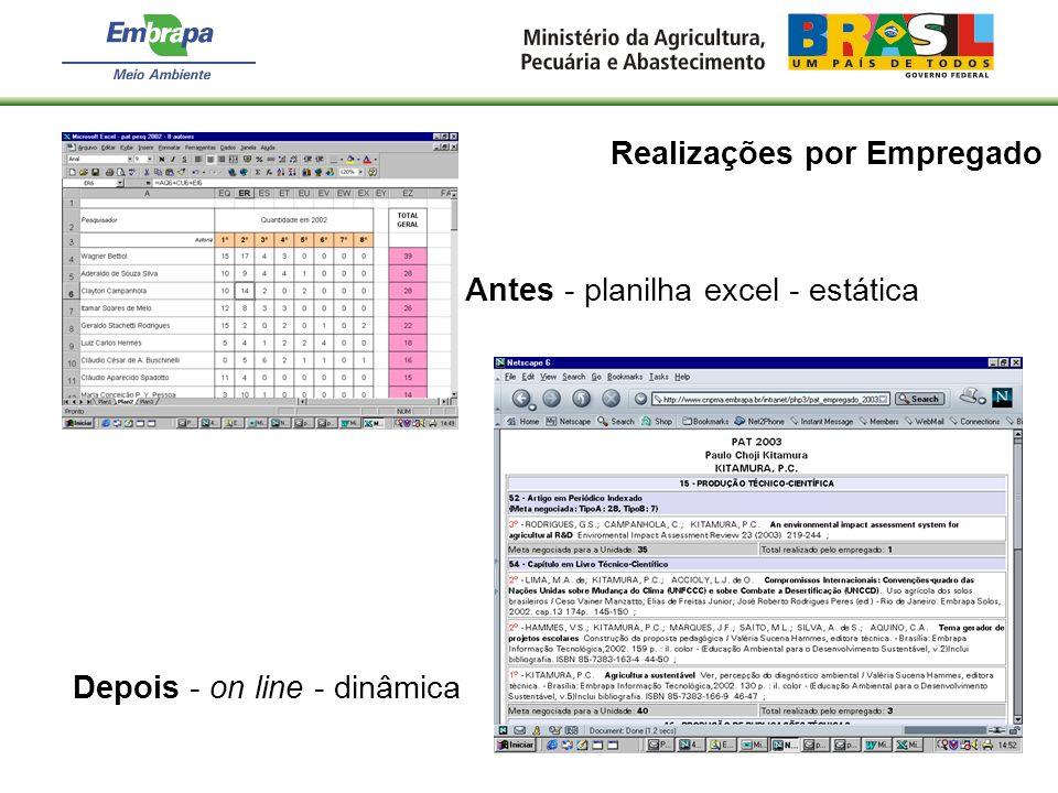 Realizações por Empregado Antes - planilha excel - estática Depois - on line - dinâmica