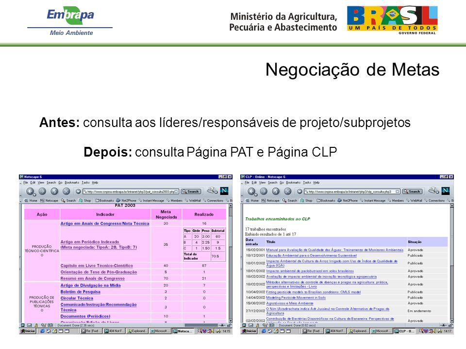 Negociação de Metas Antes: consulta aos líderes/responsáveis de projeto/subprojetos Depois: consulta Página PAT e Página CLP