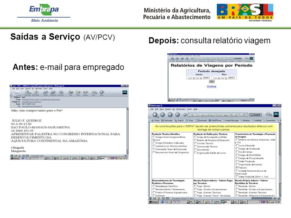 Saídas a Serviço (AV/PCV) Antes: e-mail para empregado Depois: consulta relatório viagem