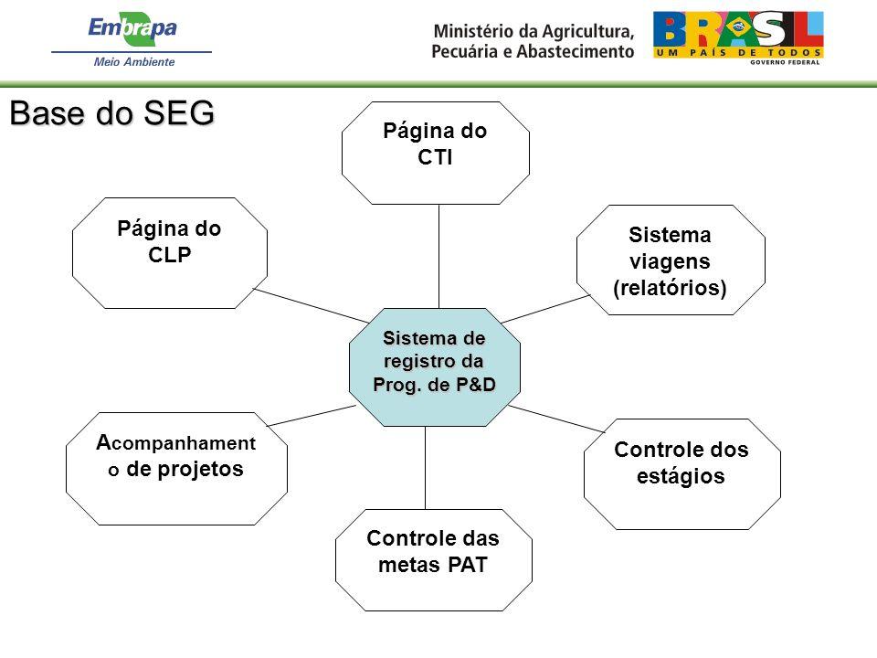 Sistema de registro da Prog. de P&D Controle dos estágios Controle das metas PAT A companhament o de projetos Página do CLP Página do CTI Sistema viag