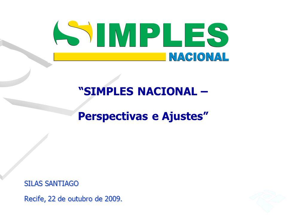 SIMPLES NACIONAL – Perspectivas e Ajustes SILAS SANTIAGO Recife, 22 de outubro de 2009.