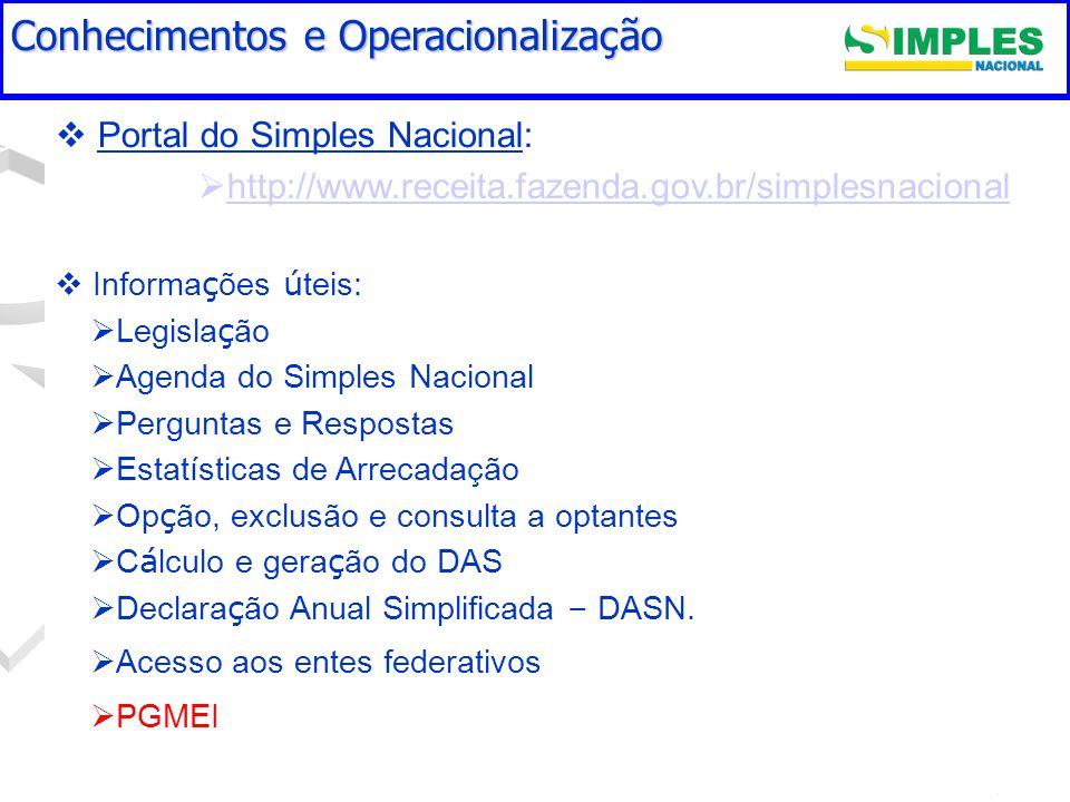 Portal do Simples Nacional: http://www.receita.fazenda.gov.br/simplesnacional Informa ç ões ú teis: Legisla ç ão Agenda do Simples Nacional Perguntas