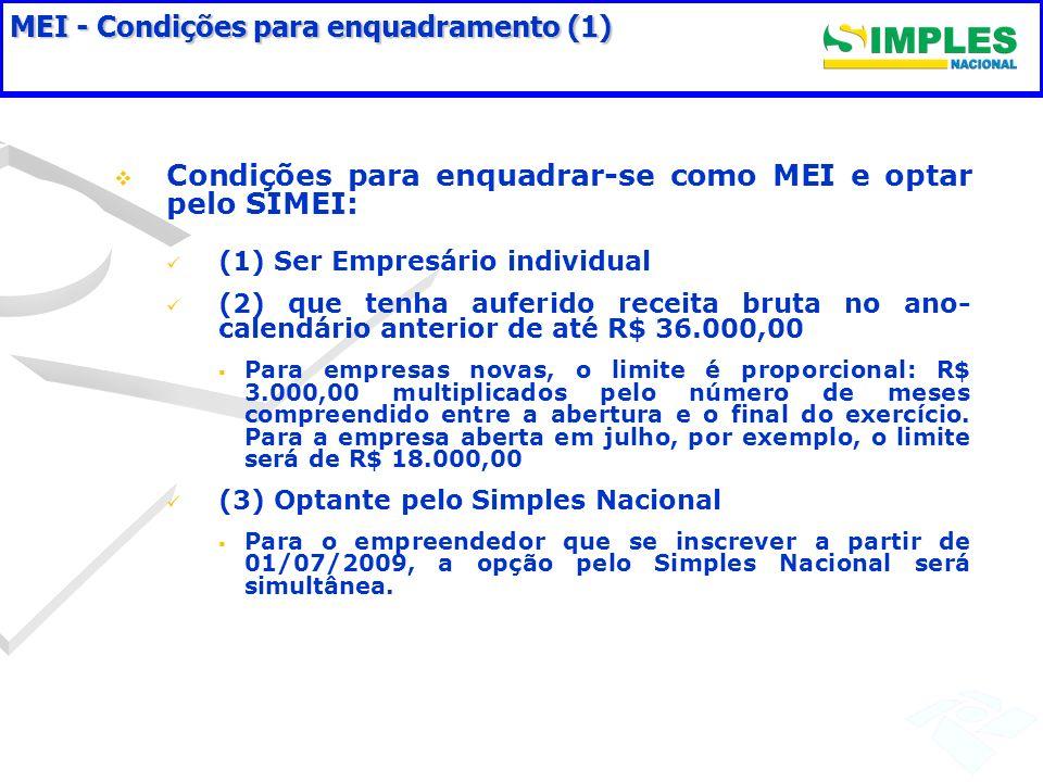 MEI - Condições para enquadramento (1) Condições para enquadrar-se como MEI e optar pelo SIMEI: (1) Ser Empresário individual (2) que tenha auferido r