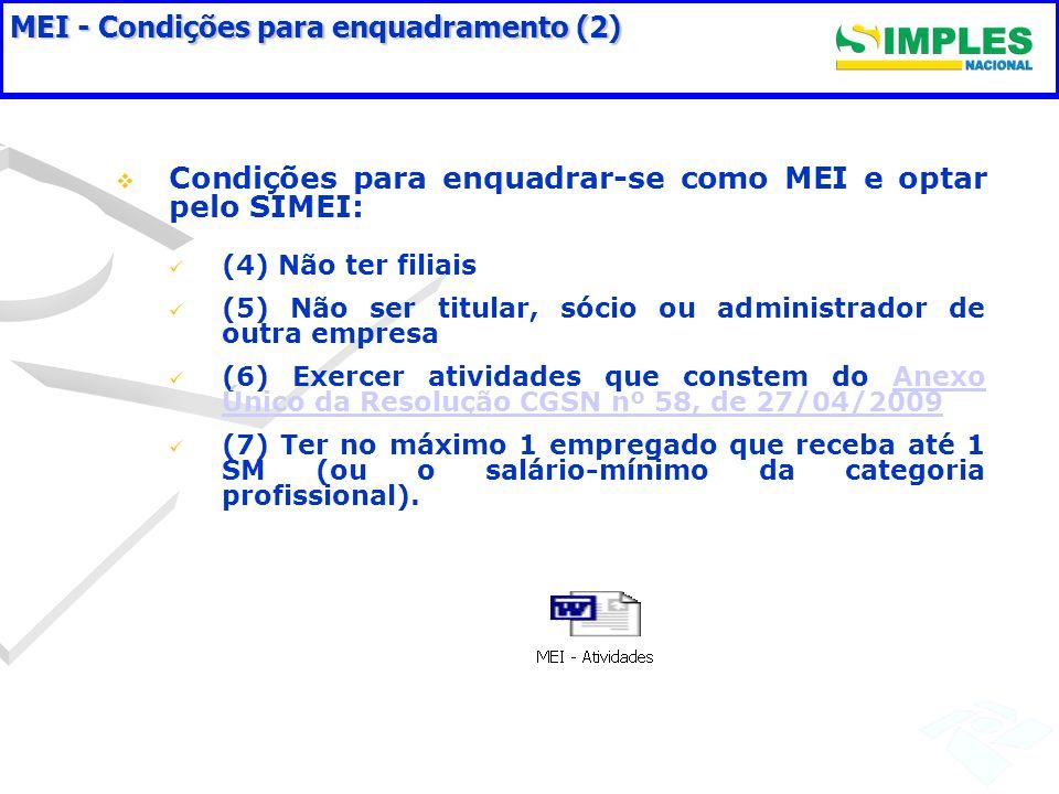 MEI - Condições para enquadramento (2) Condições para enquadrar-se como MEI e optar pelo SIMEI: (4) Não ter filiais (5) Não ser titular, sócio ou admi
