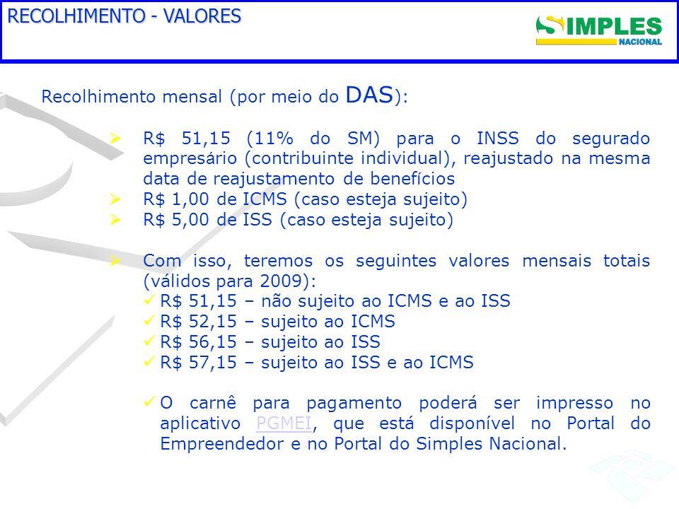 RECOLHIMENTO - VALORES Recolhimento mensal (por meio do DAS ): R$ 51,15 (11% do SM) para o INSS do segurado empres á rio (contribuinte individual), re