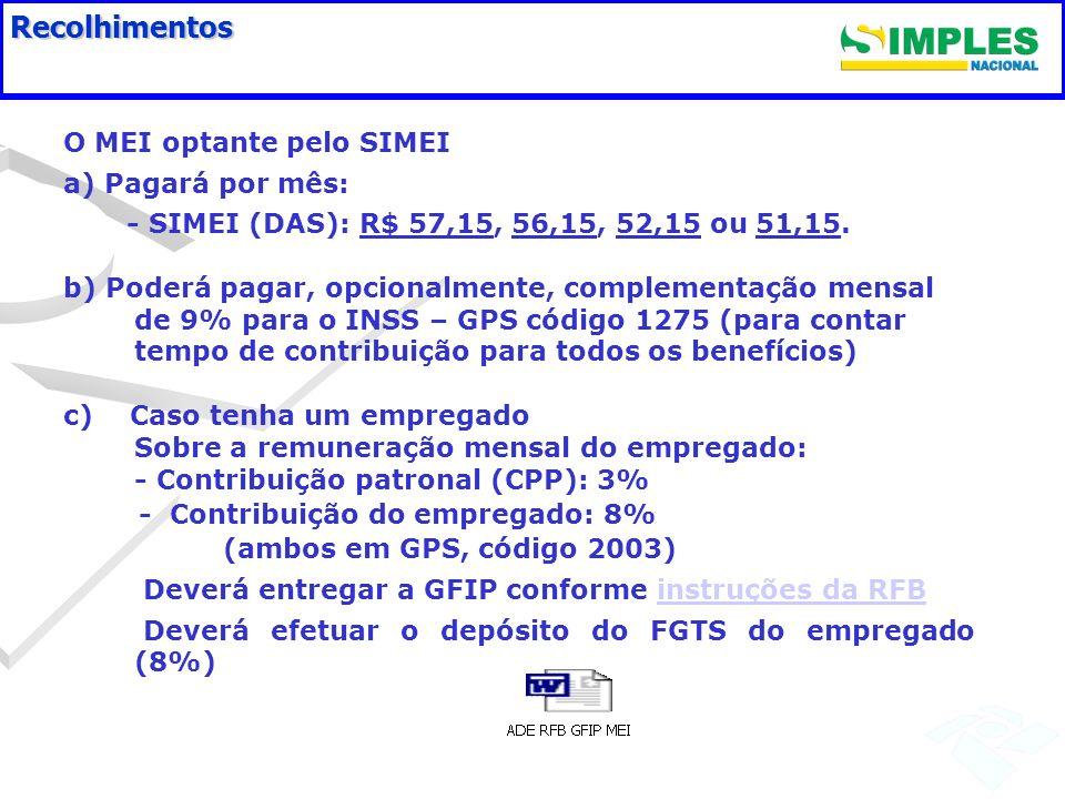 Recolhimentos O MEI optante pelo SIMEI a) Pagará por mês: - SIMEI (DAS): R$ 57,15, 56,15, 52,15 ou 51,15. b) Poderá pagar, opcionalmente, complementaç
