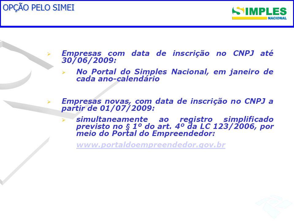 OPÇÃO PELO SIMEI Empresas com data de inscrição no CNPJ até 30/06/2009: No Portal do Simples Nacional, em janeiro de cada ano-calendário Empresas nova