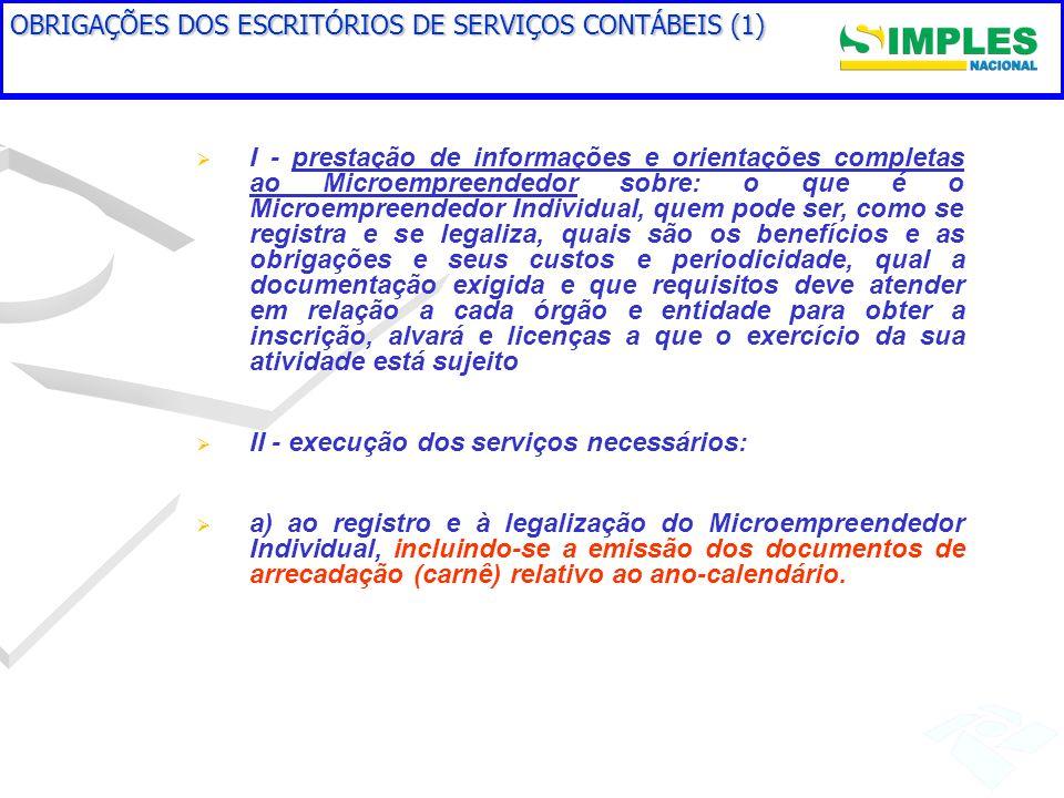 OBRIGAÇÕES DOS ESCRITÓRIOS DE SERVIÇOS CONTÁBEIS (1) I - prestação de informações e orientações completas ao Microempreendedor sobre: o que é o Microe