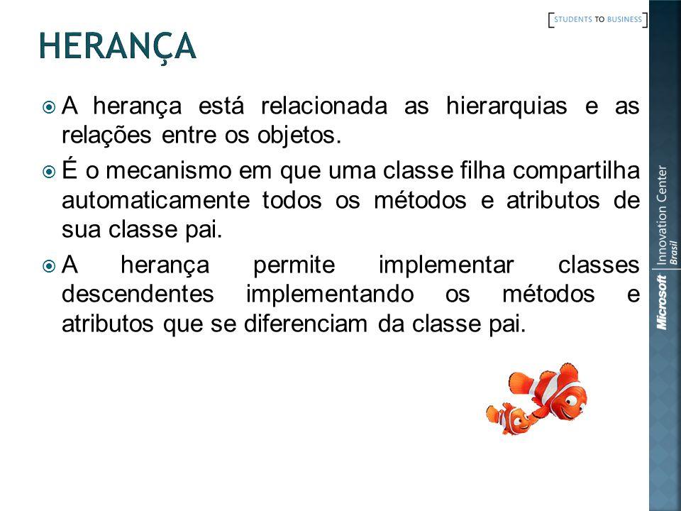 A herança está relacionada as hierarquias e as relações entre os objetos.