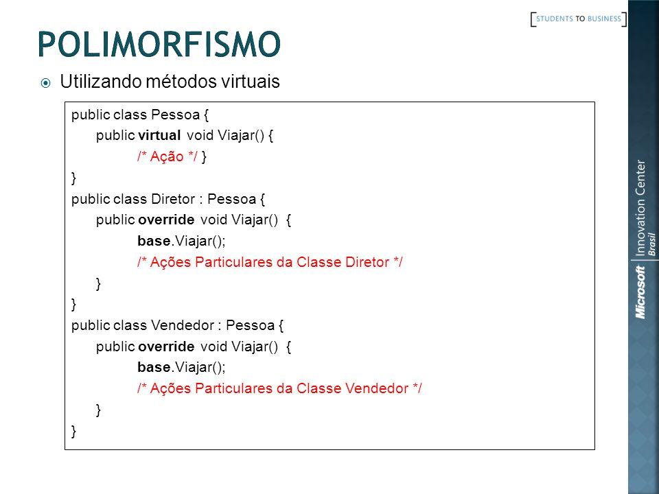 Utilizando métodos virtuais public class Pessoa { public virtual void Viajar() { /* Ação */ } } public class Diretor : Pessoa { public override void Viajar() { base.Viajar(); /* Ações Particulares da Classe Diretor */ } public class Vendedor : Pessoa { public override void Viajar() { base.Viajar(); /* Ações Particulares da Classe Vendedor */ }