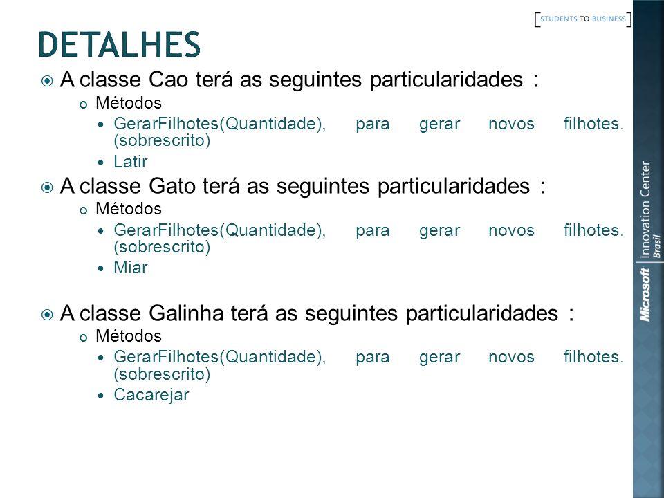 A classe Cao terá as seguintes particularidades : Métodos GerarFilhotes(Quantidade), para gerar novos filhotes.