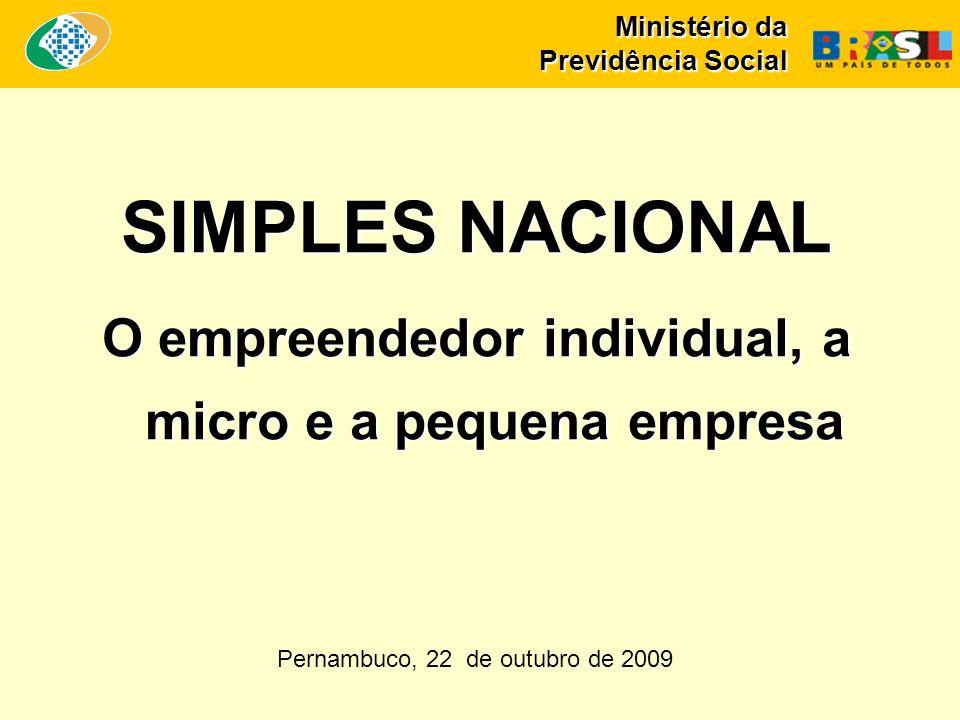 Ministério da Previdência Social SIMPLES NACIONAL O empreendedor individual, a micro e a pequena empresa Pernambuco, 22 de outubro de 2009