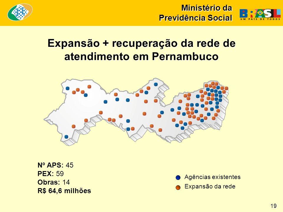 Ministério da Previdência Social Nº APS: 45 PEX: 59 Obras: 14 R$ 64,6 milhões Expansão + recuperação da rede de atendimento em Pernambuco Agências existentes Expansão da rede 19
