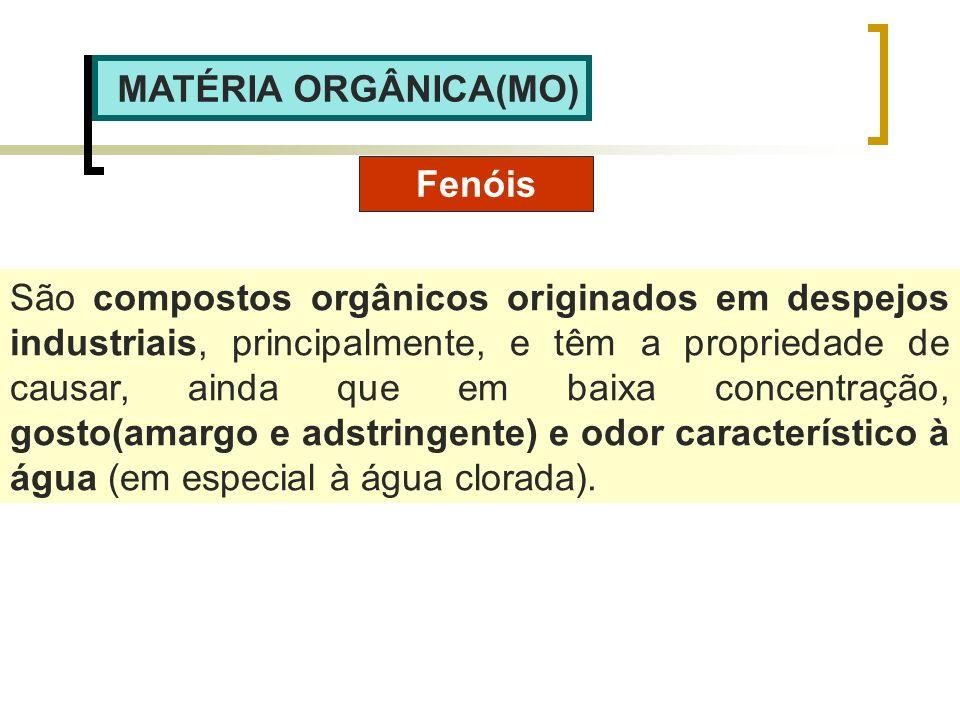 MATÉRIA ORGÂNICA(MO) Fenóis São compostos orgânicos originados em despejos industriais, principalmente, e têm a propriedade de causar, ainda que em ba