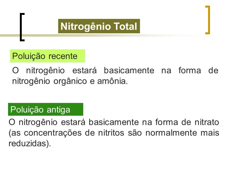 Nitrogênio Total Poluição recente O nitrogênio estará basicamente na forma de nitrogênio orgânico e amônia. Poluição antiga O nitrogênio estará basica