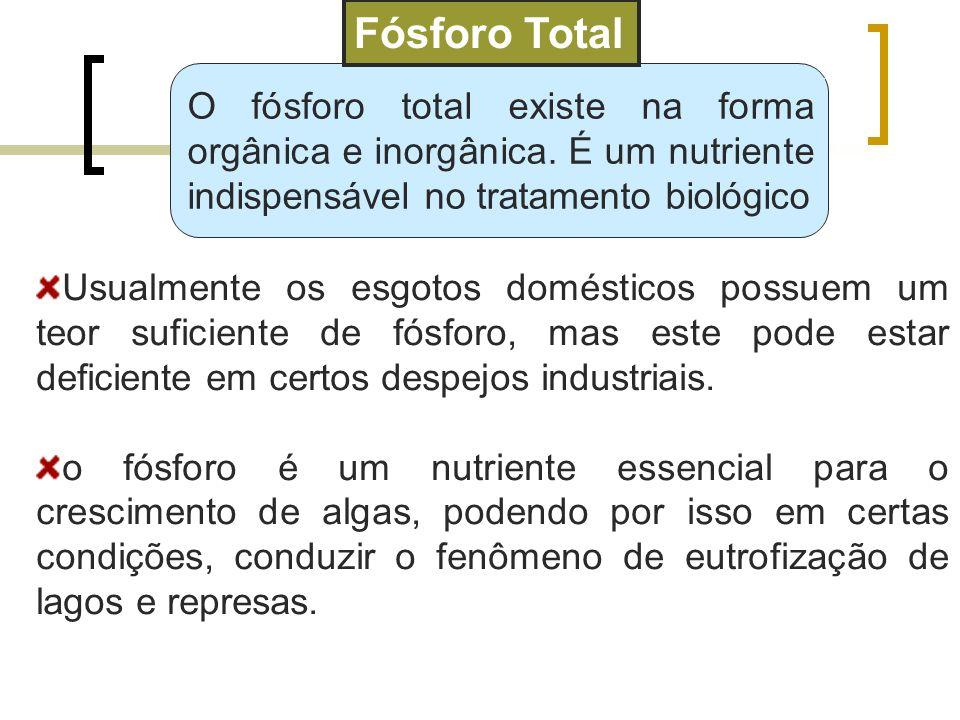 O fósforo total existe na forma orgânica e inorgânica. É um nutriente indispensável no tratamento biológico Fósforo Total Usualmente os esgotos domést