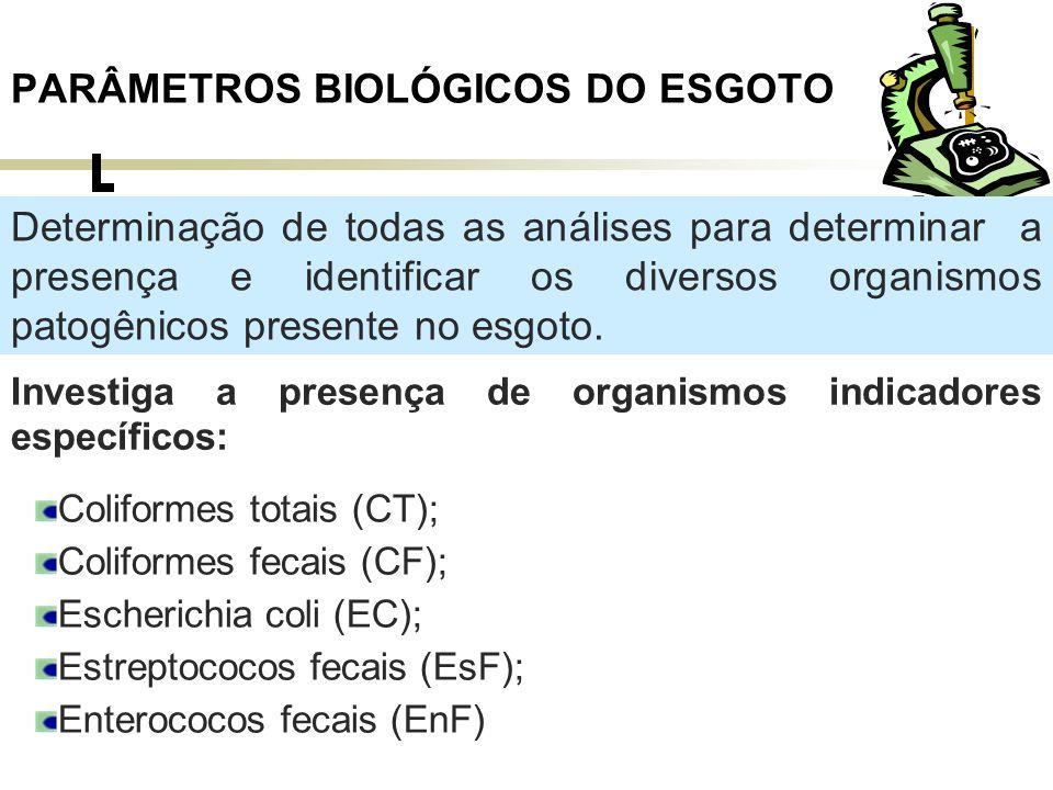 Coliformes totais (CT); O esgoto bruto contém cerca de 10 6 a 10 9 NMP/100 ml de colis total, ou cerca de 10 9 a 10 12 org/hab.dia.
