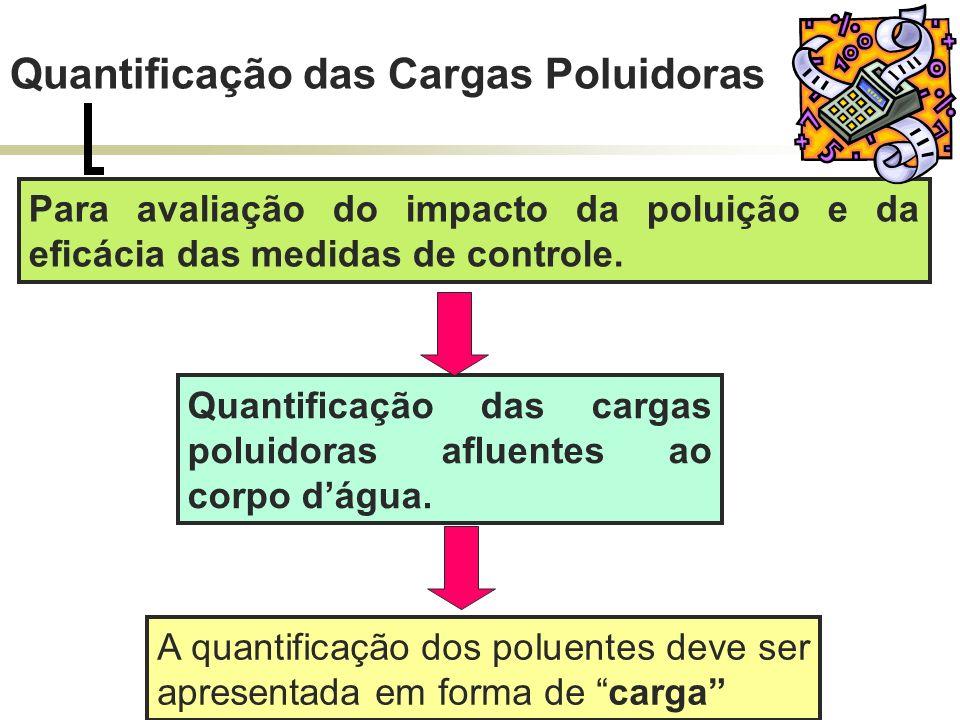Quantificação das Cargas Poluidoras Para avaliação do impacto da poluição e da eficácia das medidas de controle. Quantificação das cargas poluidoras a
