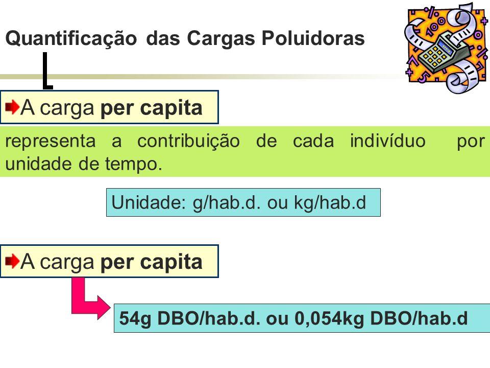 A carga per capita Unidade: g/hab.d. ou kg/hab.d representa a contribuição de cada indivíduo por unidade de tempo. A carga per capita 54g DBO/hab.d. o