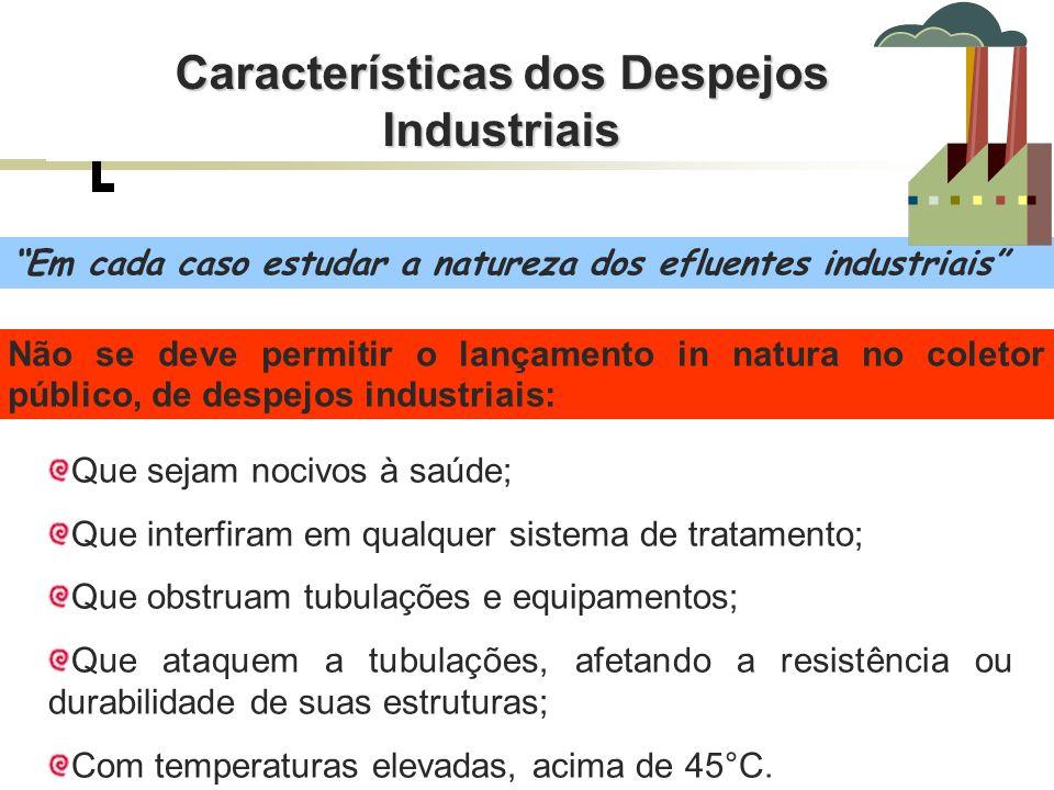 Em cada caso estudar a natureza dos efluentes industriais Que sejam nocivos à saúde; Que interfiram em qualquer sistema de tratamento; Que obstruam tu