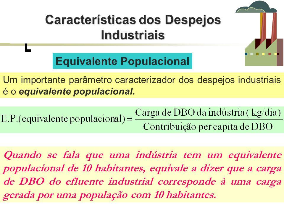 Equivalente Populacional Um importante parâmetro caracterizador dos despejos industriais é o equivalente populacional. Quando se fala que uma indústri