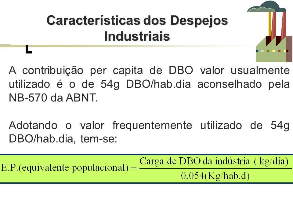 A contribuição per capita de DBO valor usualmente utilizado é o de 54g DBO/hab.dia aconselhado pela NB-570 da ABNT. Adotando o valor frequentemente ut