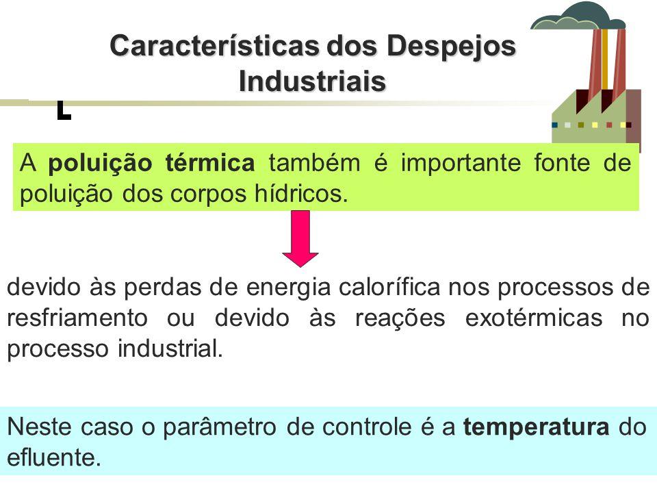 Características dos Despejos Industriais A poluição térmica também é importante fonte de poluição dos corpos hídricos. devido às perdas de energia cal