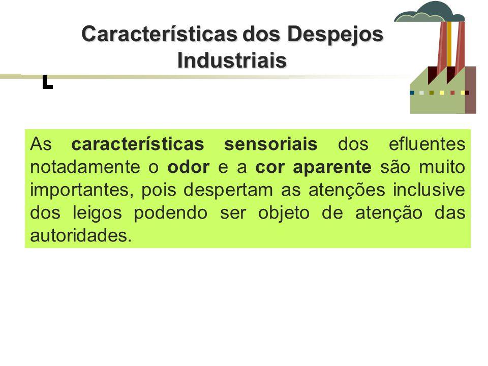 Características dos Despejos Industriais As características sensoriais dos efluentes notadamente o odor e a cor aparente são muito importantes, pois d