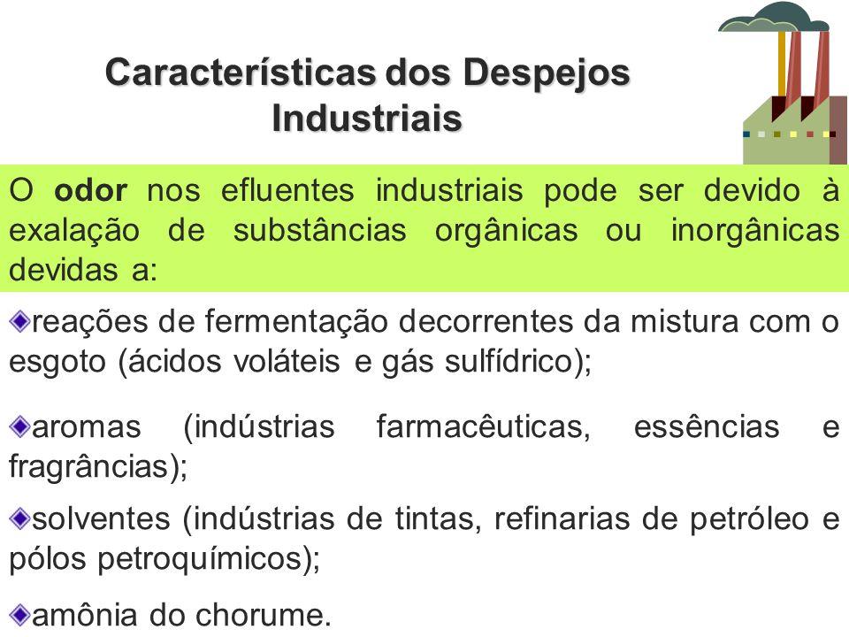 Características dos Despejos Industriais O odor nos efluentes industriais pode ser devido à exalação de substâncias orgânicas ou inorgânicas devidas a
