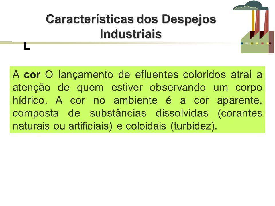 Características dos Despejos Industriais características físico-químicas As características físico-químicas são definidas por parâmetros que quantificam os sólidos, a matéria orgânica e alguns de seus componentes orgânicos ou inorgânicos.
