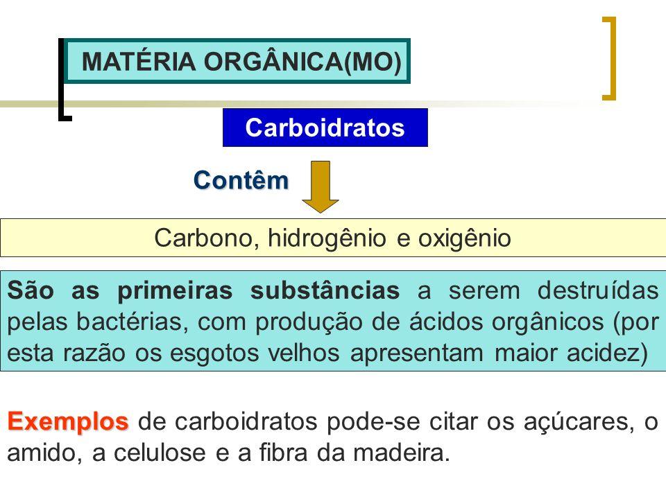 MATÉRIA ORGÂNICA(MO) Carboidratos Carbono, hidrogênio e oxigênio Contêm São as primeiras substâncias a serem destruídas pelas bactérias, com produção