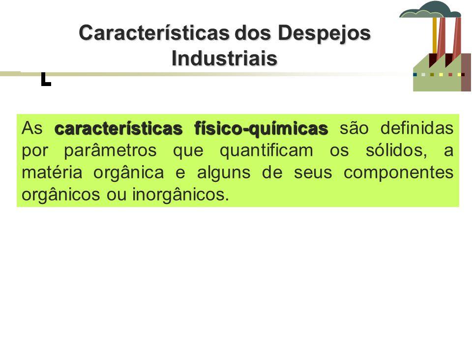 Características dos Despejos Industriais características físico-químicas As características físico-químicas são definidas por parâmetros que quantific