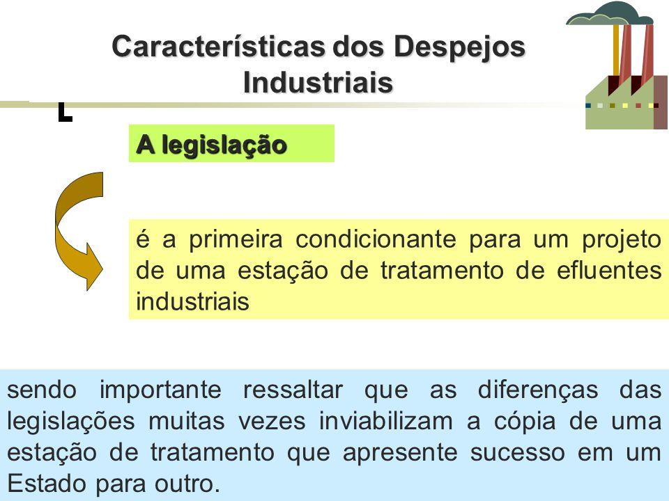 Características dos Despejos Industriais A legislação é a primeira condicionante para um projeto de uma estação de tratamento de efluentes industriais