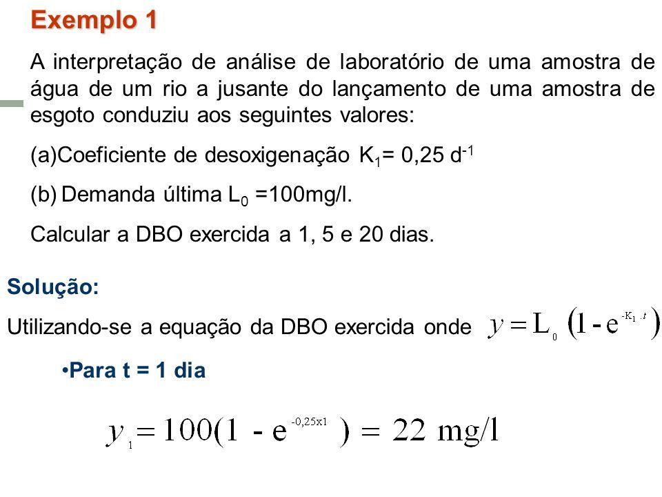 Exemplo 1 A interpretação de análise de laboratório de uma amostra de água de um rio a jusante do lançamento de uma amostra de esgoto conduziu aos seg