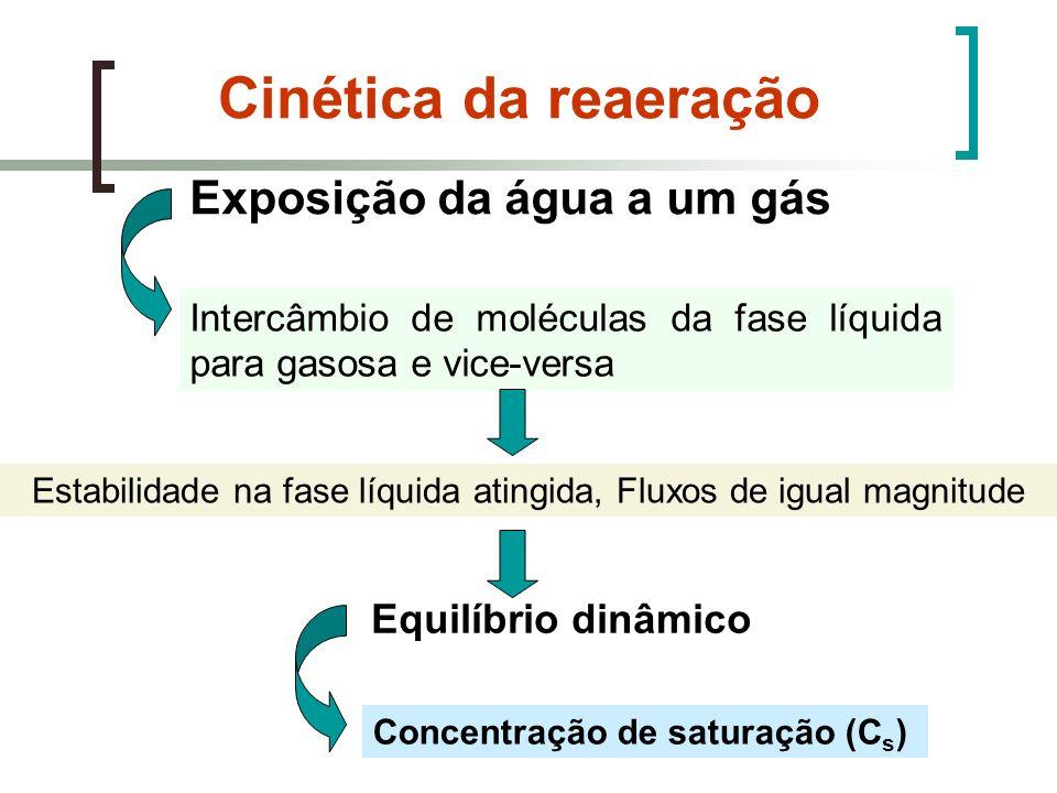 Cinética da reaeração Exposição da água a um gás Intercâmbio de moléculas da fase líquida para gasosa e vice-versa Estabilidade na fase líquida atingi