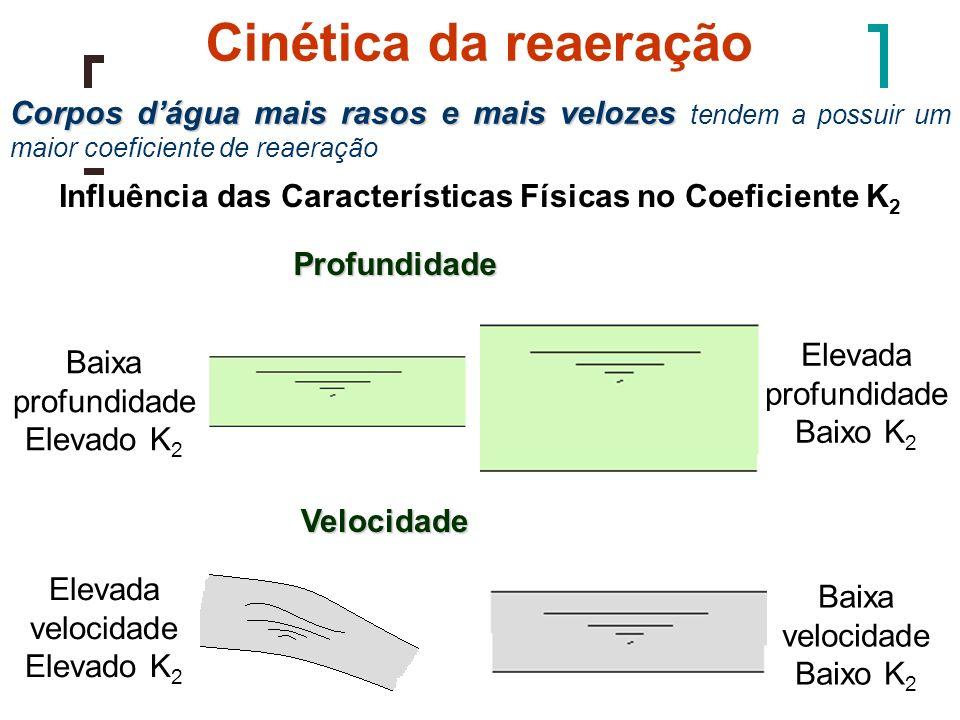 Cinética da reaeração Corpos dágua mais rasos e mais velozes Corpos dágua mais rasos e mais velozes tendem a possuir um maior coeficiente de reaeração