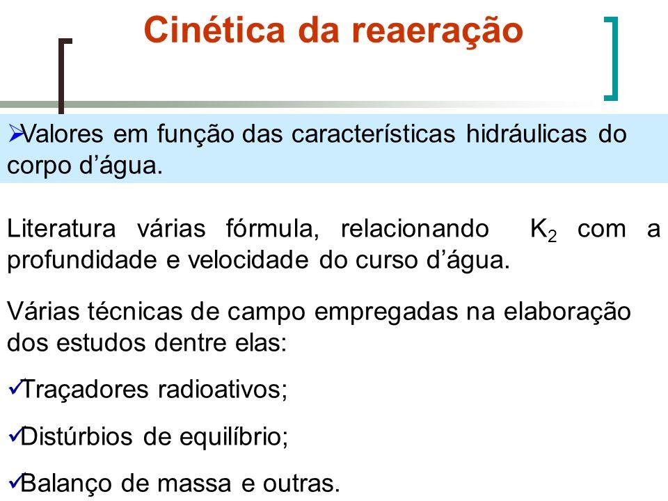 Cinética da reaeração Valores em função das características hidráulicas do corpo dágua. Literatura várias fórmula, relacionando K 2 com a profundidade
