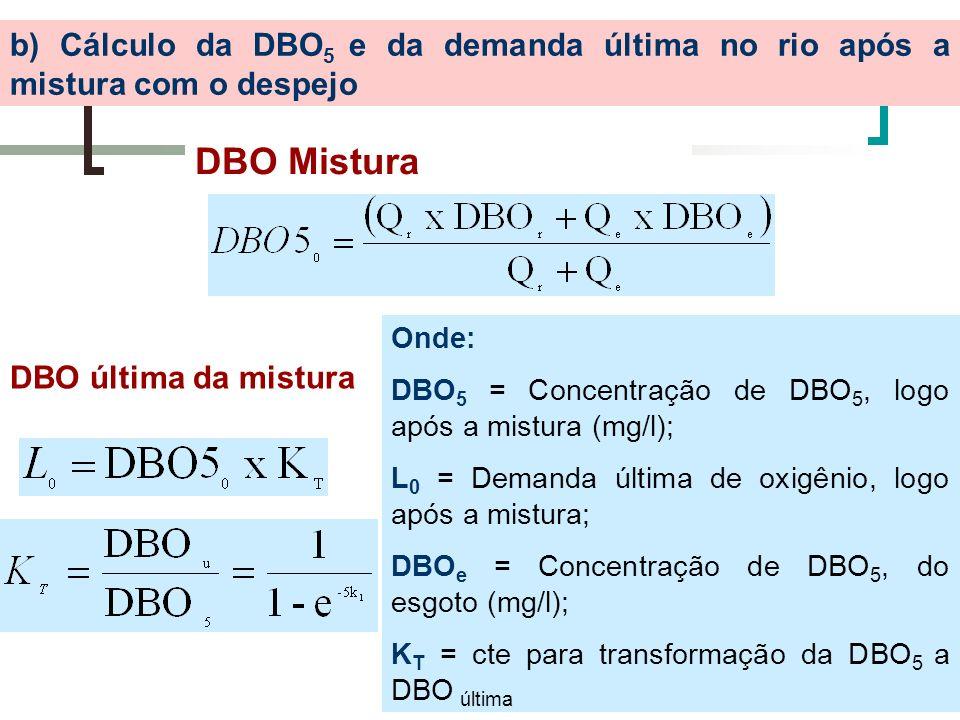 b) Cálculo da DBO 5 e da demanda última no rio após a mistura com o despejo DBO Mistura DBO última da mistura Onde: DBO 5 = Concentração de DBO 5, log