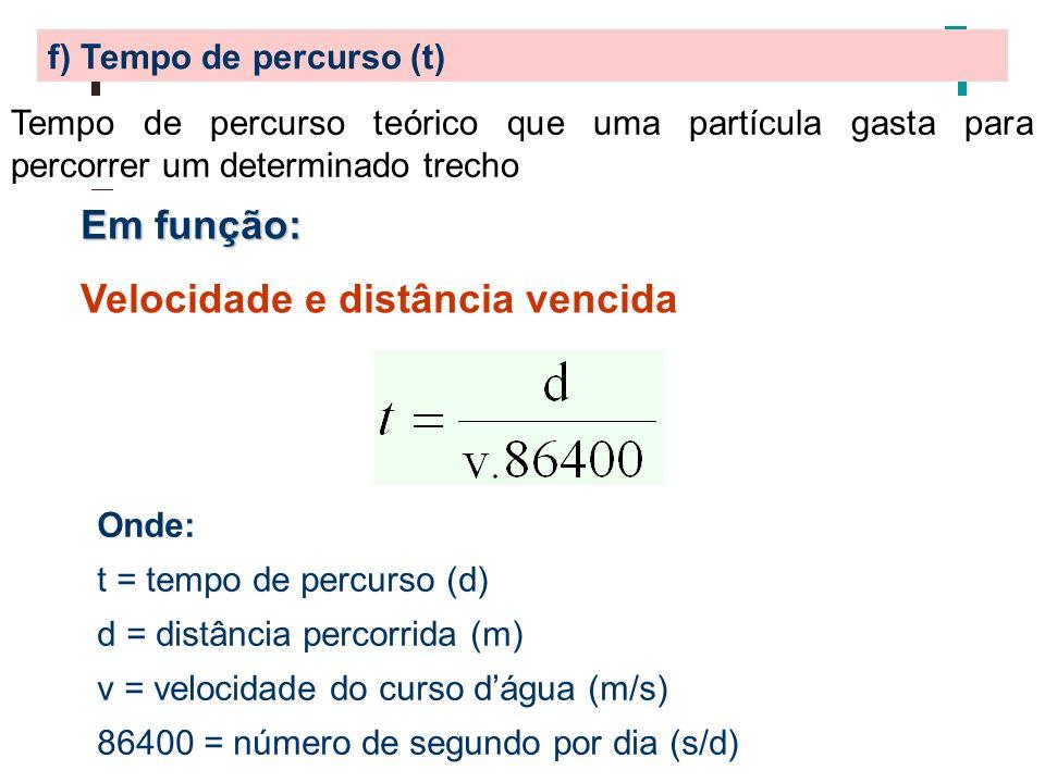f) Tempo de percurso (t) Tempo de percurso teórico que uma partícula gasta para percorrer um determinado trecho Em função: Velocidade e distância venc