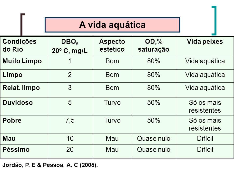 Condições do Rio DBO 5 20º C, mg/L Aspecto estético OD,% saturação Vida peixes Muito Limpo1Bom80%Vida aquática Limpo2Bom80%Vida aquática Relat. limpo3