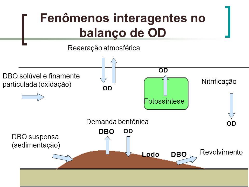 Fenômenos interagentes no balanço de OD Reaeração atmosférica DBO solúvel e finamente particulada (oxidação) OD DBO suspensa (sedimentação) OD Demanda