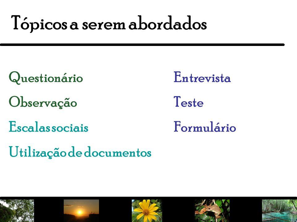 20 Tópicos a serem abordados Questionário Observação Escalas sociais Utilização de documentos Entrevista Teste Formulário