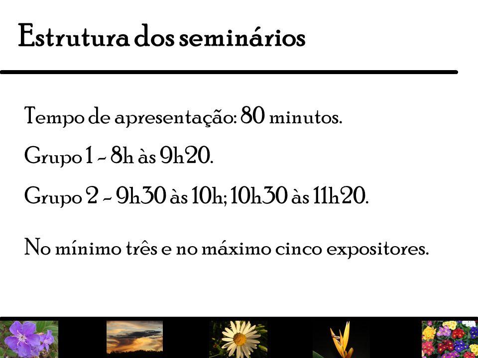 22 Estrutura dos seminários Tempo de apresentação: 80 minutos. Grupo 1 - 8h às 9h20. Grupo 2 - 9h30 às 10h; 10h30 às 11h20. No mínimo três e no máximo